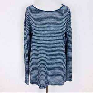 Lou & Grey Navy Striped Lightweight Waffle Knit Pullover in Size Medium